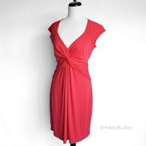 BCBGMAXAZRIA • Cinched-Front Red Midi Dress